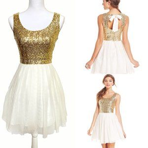 B Darlin Gold Sequin Pleated A-Line Tulle Dress